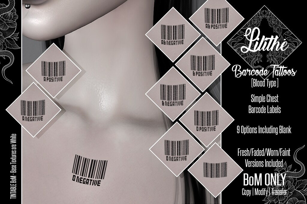 Lilithe'// Barcode Tattoos [Blood Type] @ Warehouse Sale