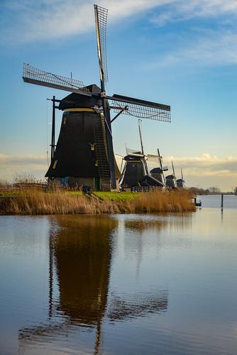 europe nederland thenetherlands holland dutch landscape polder kinderdijk rotterdam world heritage site unesco windmill molen mill