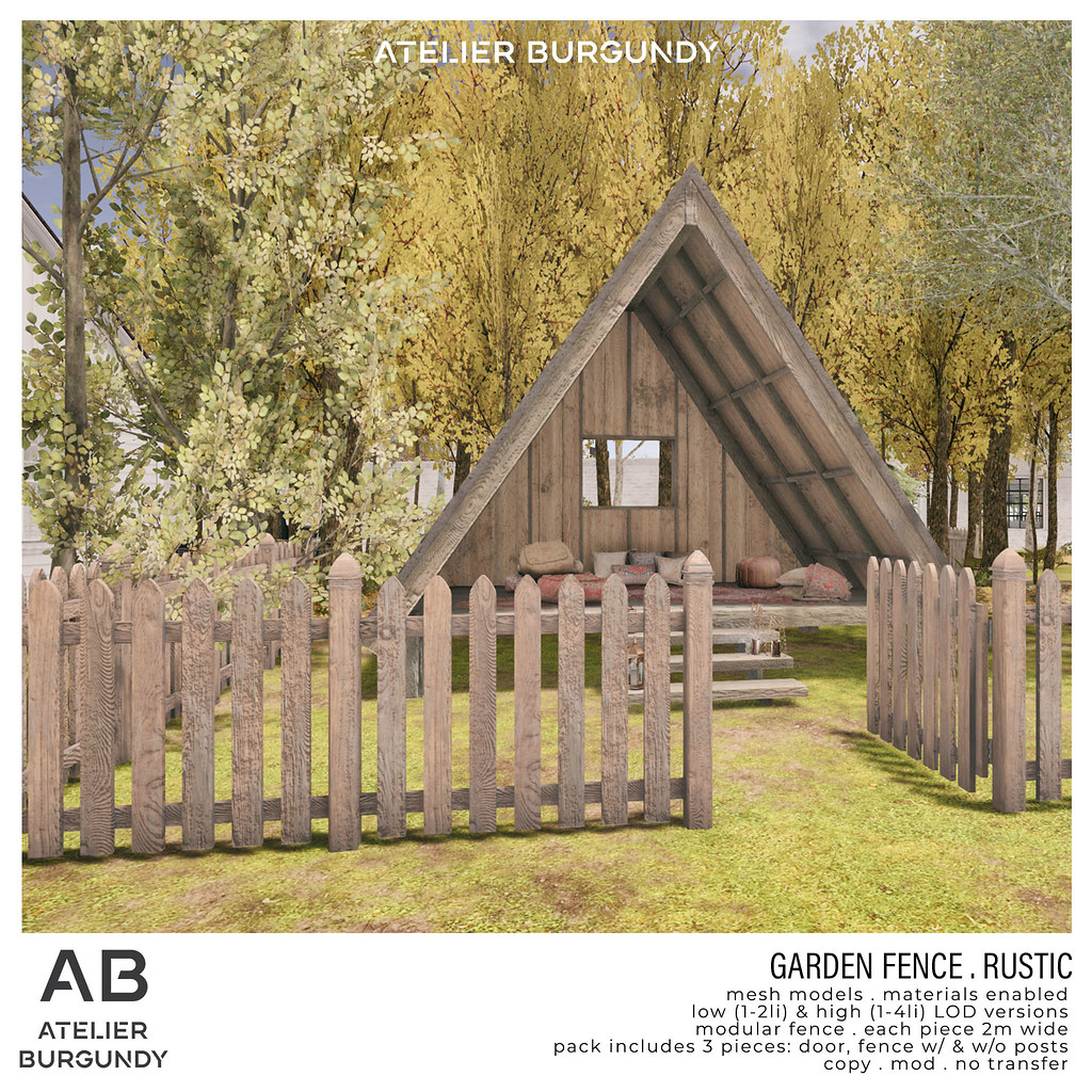 Atelier Burgundy . Garden Fence Rustic