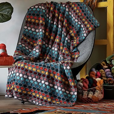 Painting Honeycombs Blanket by Stephen West uses a slip stitch technique which is very easy to knit and includes the small baby blanket size or a large blanket for your couch.