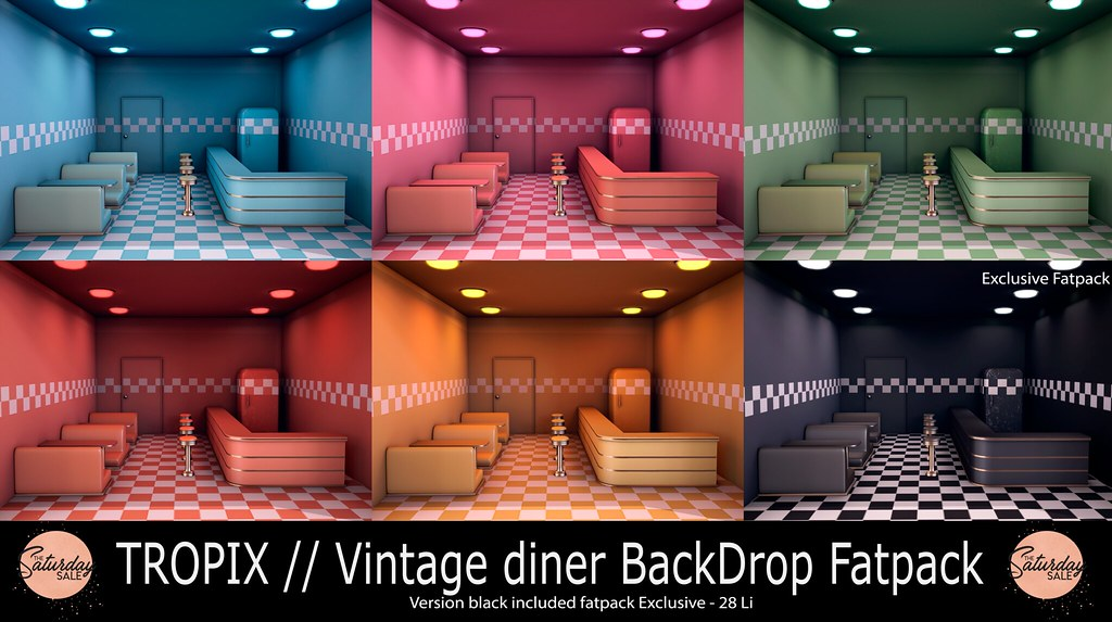 TROPIX – Vintage diner BackDrop Fatpack