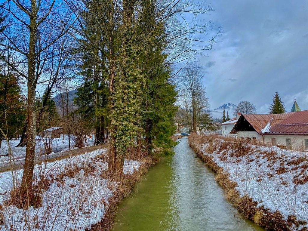 Kieferbach creek in winter in Kiefersfelden in Bavaria, Germany