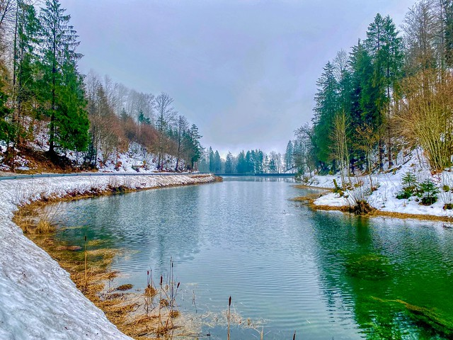 Winter at Gfaller Stausee reservoir lake in Bavaria, Germany