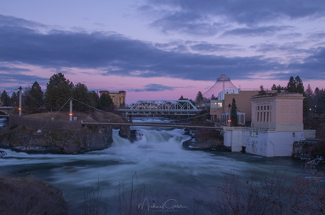 Spokane Lower Falls Twilight
