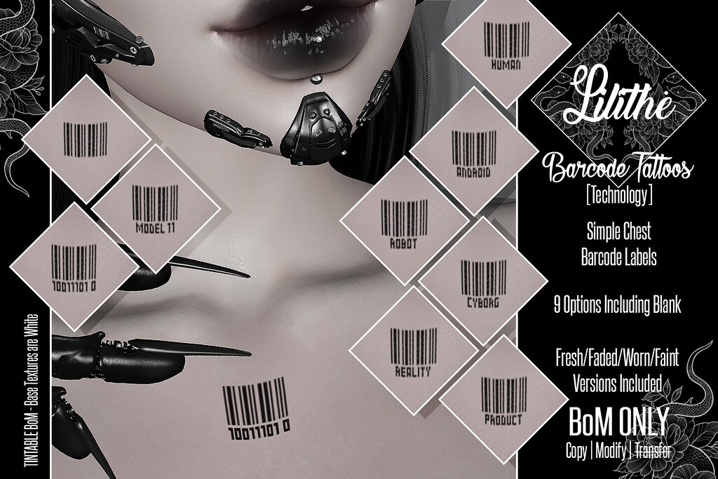 Lilithe'// Barcode Tattoos [Technology] @ Warehouse Sale