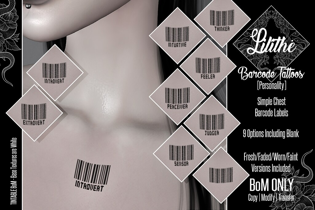 Lilithe'// Barcode Tattoos [Personality] @ Warehouse Sale