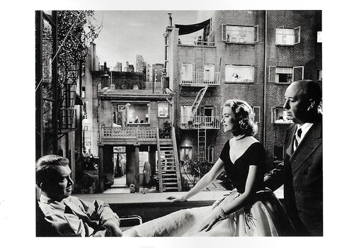 James Stewart, Grace Kelly and Alfred Hitchcock at the set of Rear Window (1954)
