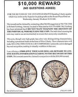 stolen coin reward poster | by Numismatic Bibliomania Society