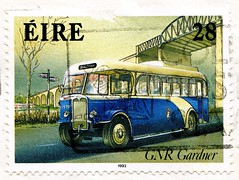 great stamp Eire Ireland 28p (Gardner-Omnibus GNR 1937-1951, ônibus, バス,  Autobus, 公共汽車, buss, 버스, автобус, busz, strætó, אוֹטוֹבּוּס,  λεωφορείο, avtobus, autobús, otobüs) Briefmarke Irland timbre selo แสตมป์ ไอร์แลนด์ stampa Eire марки Ирландия