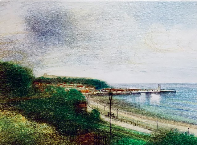 Scarborough Castle and Bay. Derwent Lightfast coloured pencil drawing by jmsw on white card. Just for Fun.