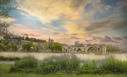 landscape avignon river bridge flower blue city town place vaucluse rhône medieval priaux paint painting
