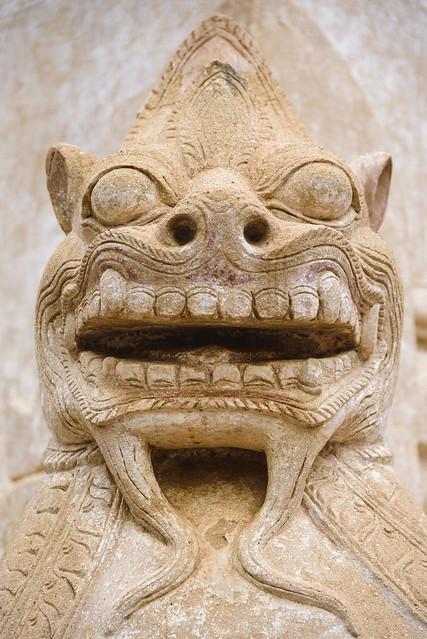 Cabeza de león en el Templo de Ananda