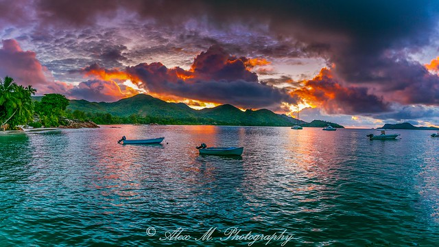 Fiery sunset at Praslin