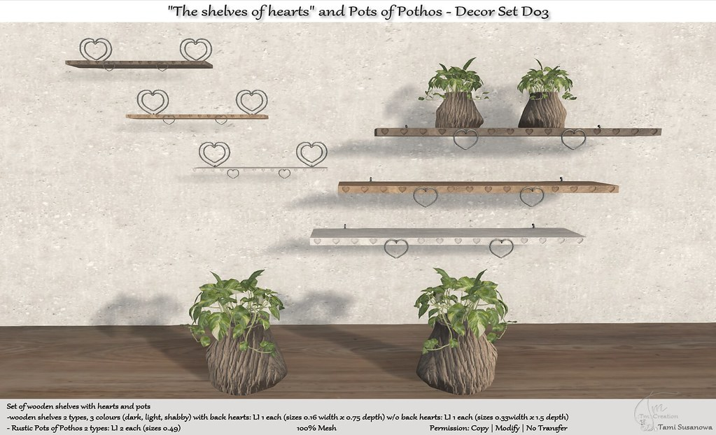 ".:Tm:.Creation ""The shelves of hearts"" and Pots of Pothos – Decor Set D03"