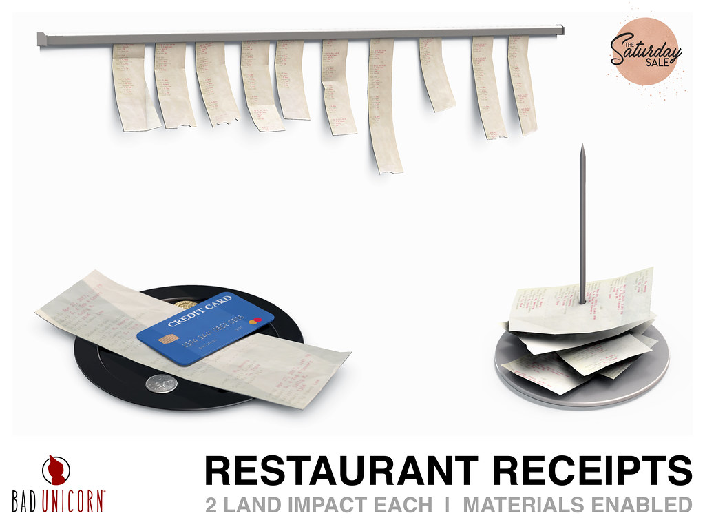 NEW! Restaurants Receipts @ Bad Unicorn Mainstore