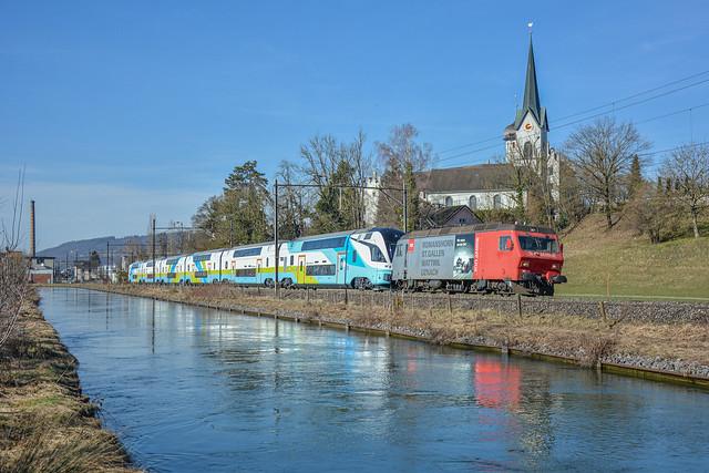 Re 456 095+Westbahn KISS | Bürglen