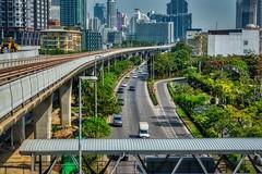 BTS Skytrain tracks at Krung Thonburi station in Bangkok, Thailand