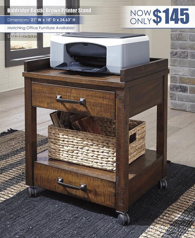 Baldridge Rustic Brown Printer Stand_H675-11
