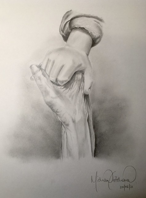 Was asked to draw this for someone who had sadly just lost her grandfather...the hand of her young son and late grandfather.....A3 Pencil Drawing ✍️