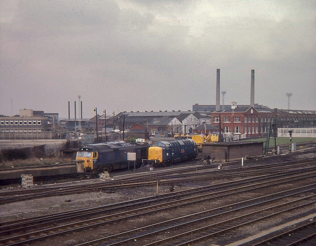 Cl;ass 50 & a Deltic outside Doncaster works, Easter 1978,