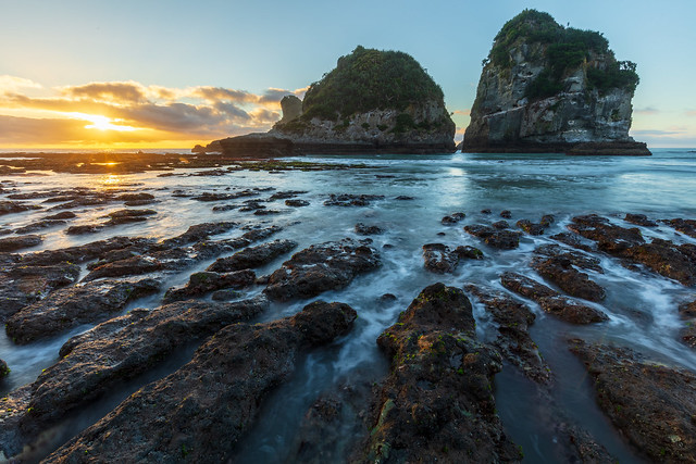 Sunset at Motukiekie Beach