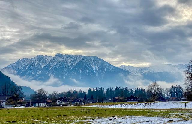 Zahmer Kaiser mountain range in winter seen from Reisach in Bavaria, Germany