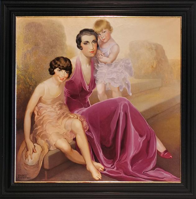 pintura retrato de señora de Enrique Moss y sus hijas 1930 Galeria de retratos museo Nestor Las Palmas De Gran Canaria