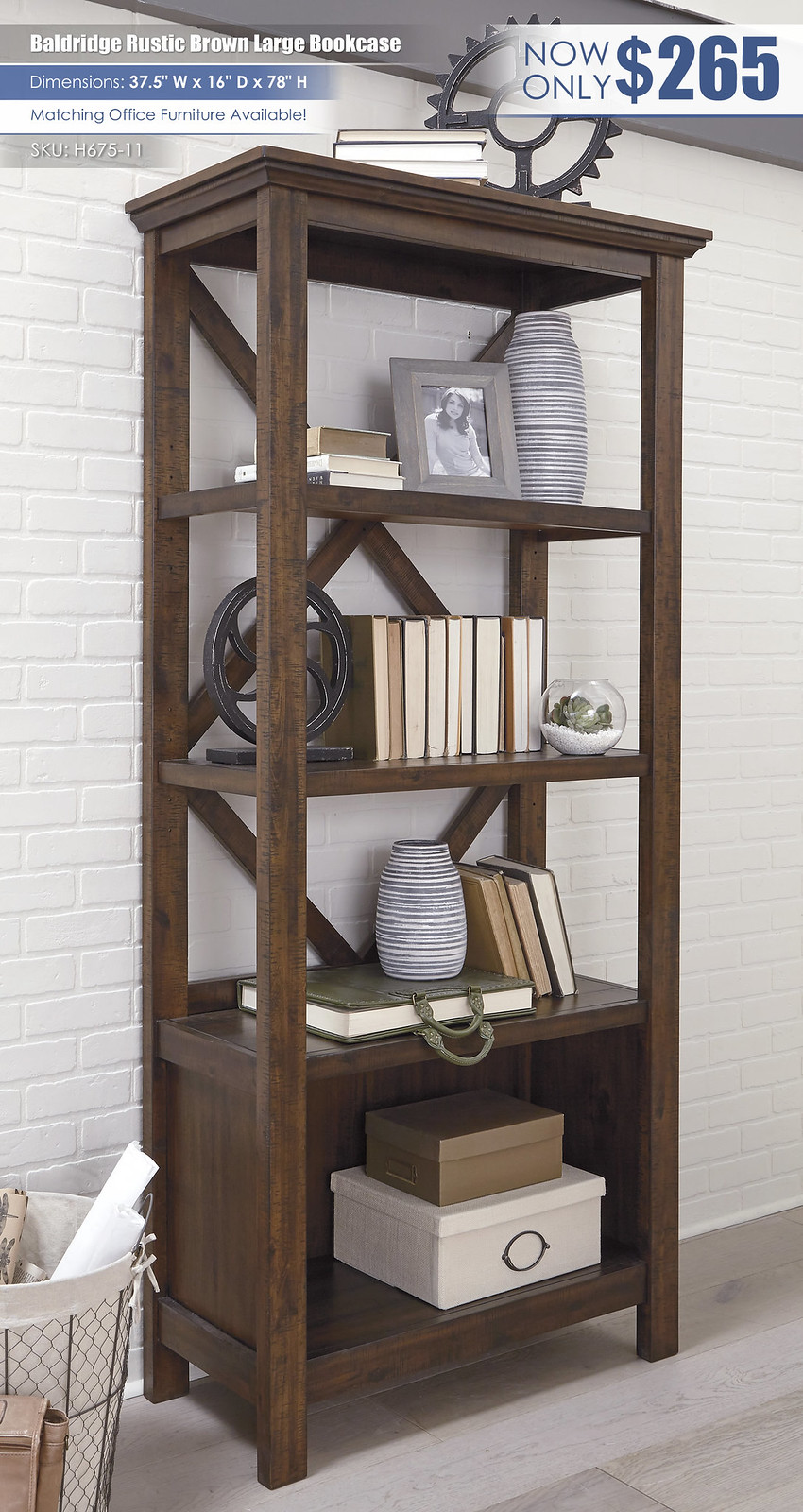 Bladridge Rustic Brown Large Bookcase_H675-17