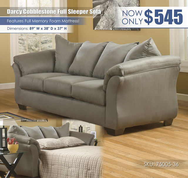 Darcy Cobblestone Full Sleeper Sofa_75005-38-35