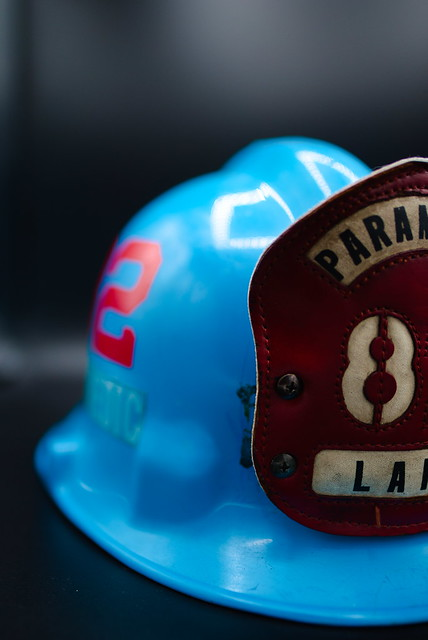 blue fire helmet
