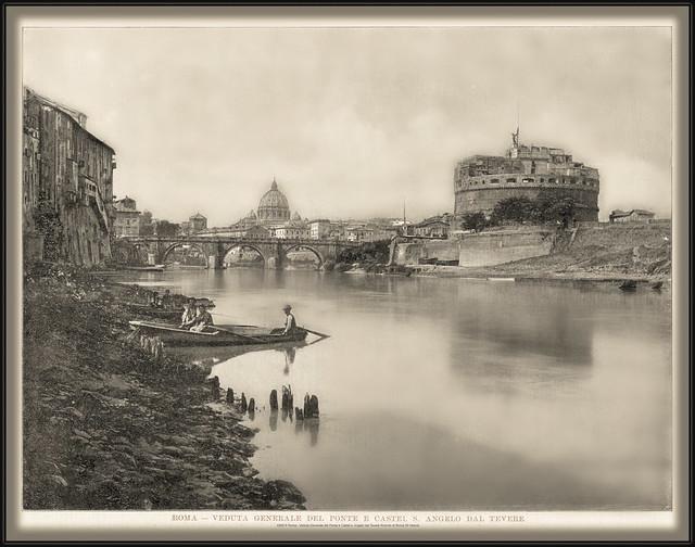 4363 R Roma - Veduta Generale del Ponte e Castel s. Angelo dal Tevere Ricordo di Roma 30 Vedute