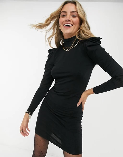 19_asos-black-puff-sleeve-jersey-dress