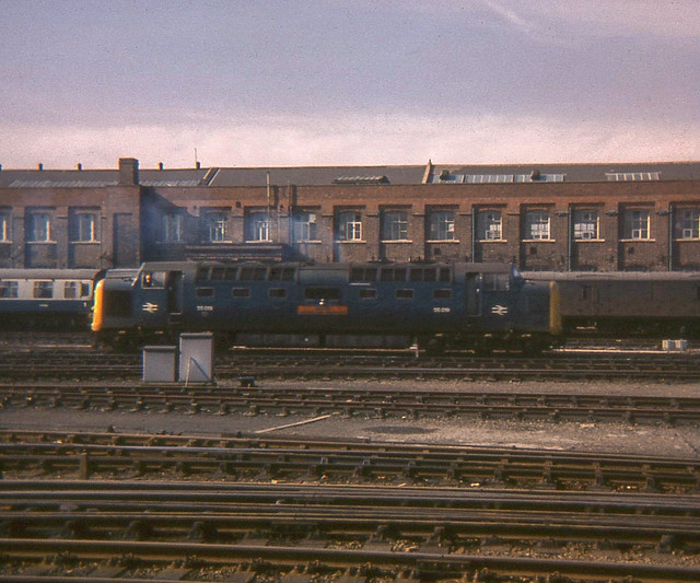 55019 shunting outside Doncaster Works, 1978,