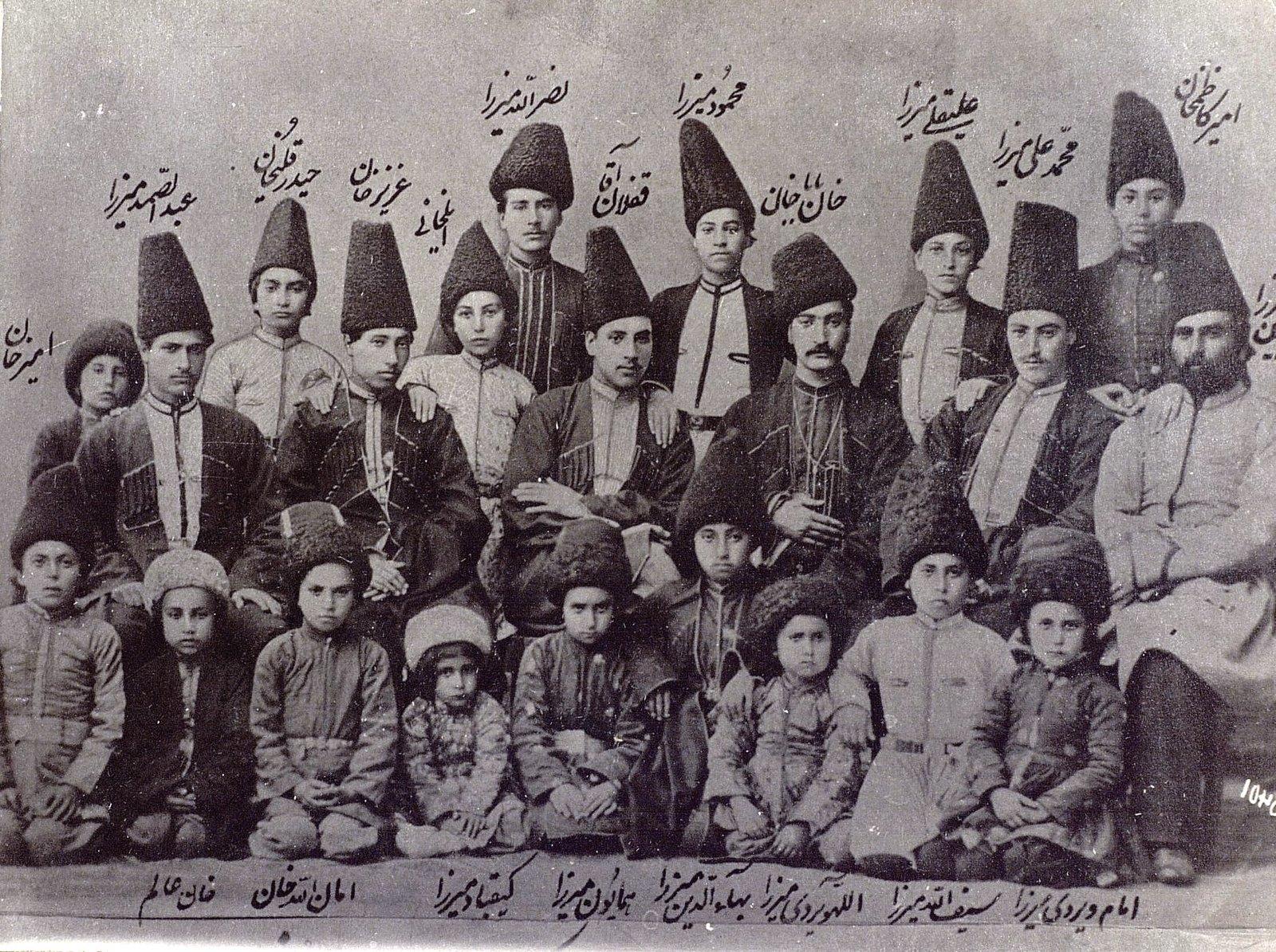 Сыновья и внуки принца Вахман Мирза