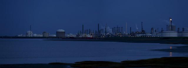 Dow Benelux plant in twilight
