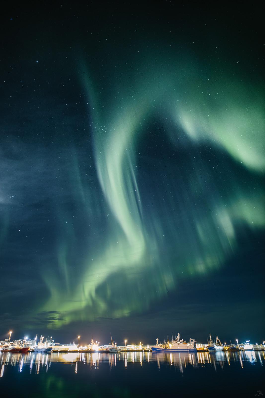 Northern Lights (Aurora Borealis) - Reykjavik Harbour