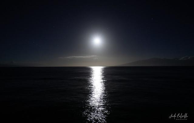 Early morning moonlight in Maui