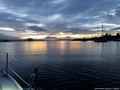 sailing passage bc canada sailboat sunrise water ocean sea still dawn calm clouds landscape vista ladysmith winter cold february