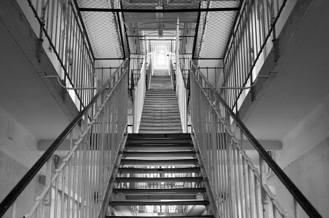 A staircase leading upwards inside a prison