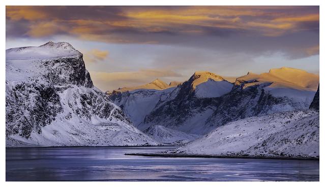 Top of Pangnirtung Fjord at dusk
