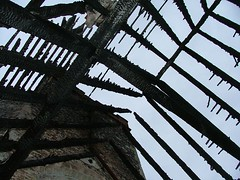 charred roof timbers