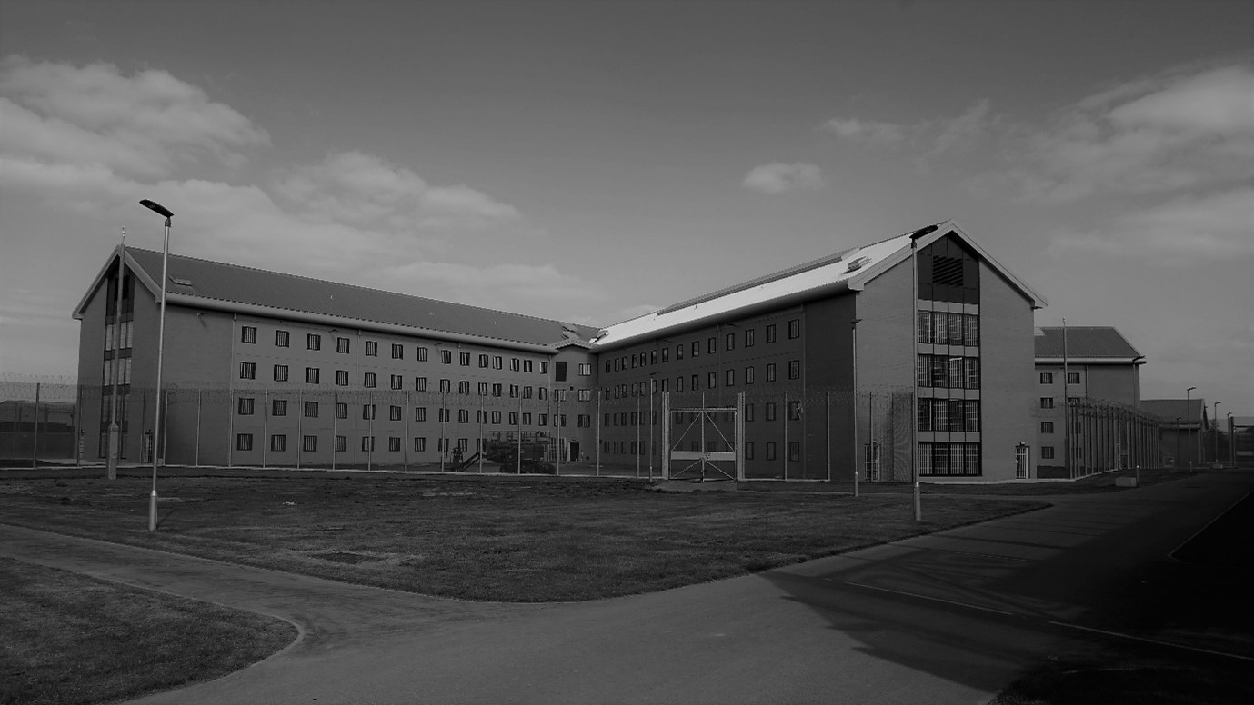 A black and white image of HMP Berwyn