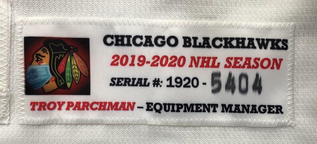 2019-20 Set 1 Lucas Carlsson Chicago Blackhawks Away Game Worn Jersey Set Tag
