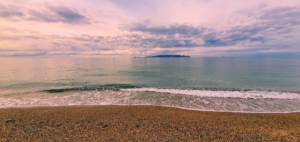 Cloudy but with calm sea