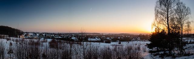 Chwasczyno panorama at sunset