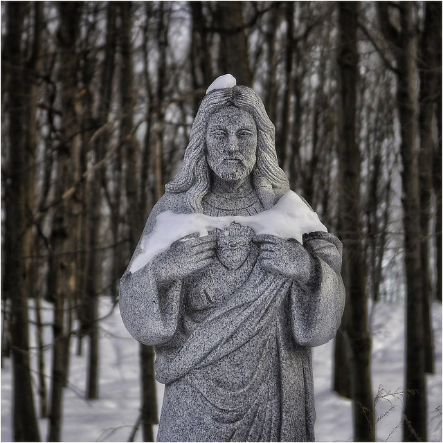 Christ in winter snow