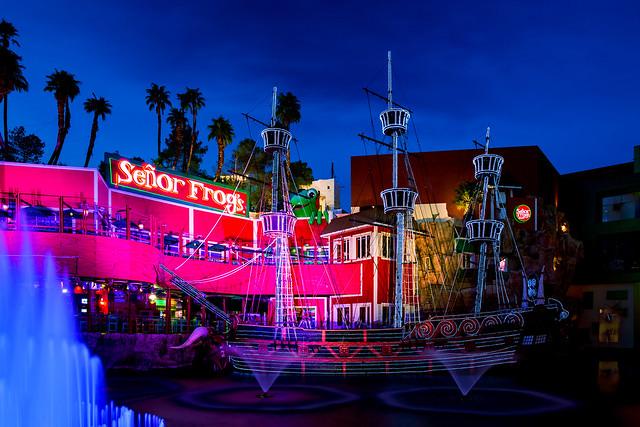 Senor Frog's restaurant, illuminated pirate ship