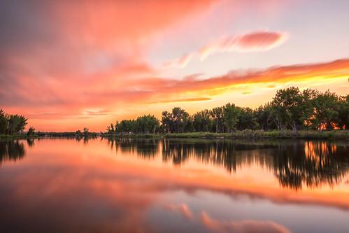sunrise dawn daybreak clouds trees lake reflections landscape landscapes lakechatfield chatfieldstatepark colorado le longexposure