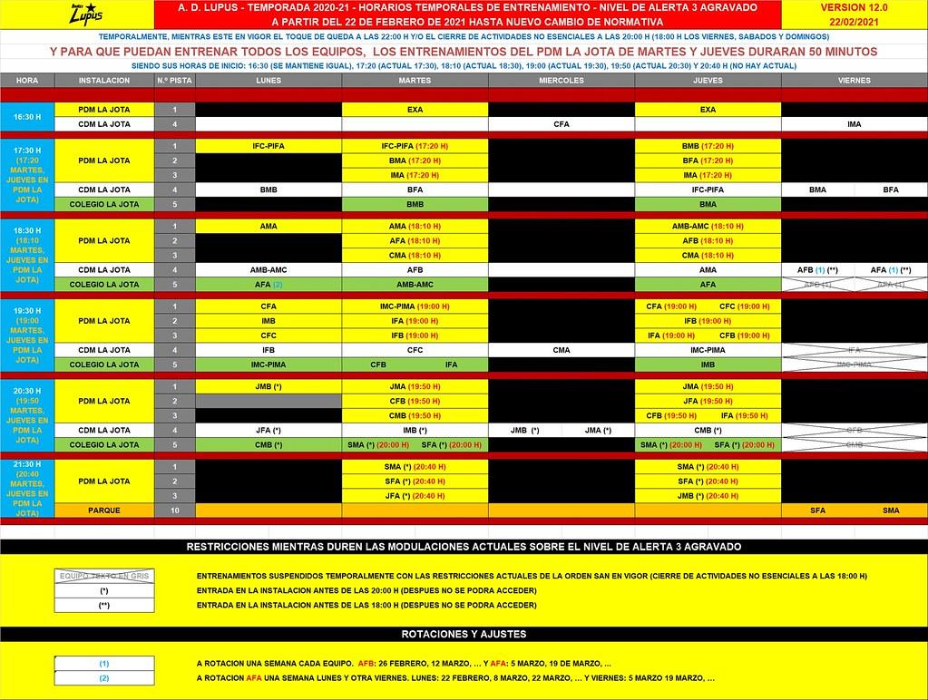 HORARIOS TEMPORALES ENTRENAMIENTO - NIVEL DE ALERTA 3 AGRAVADO V.12