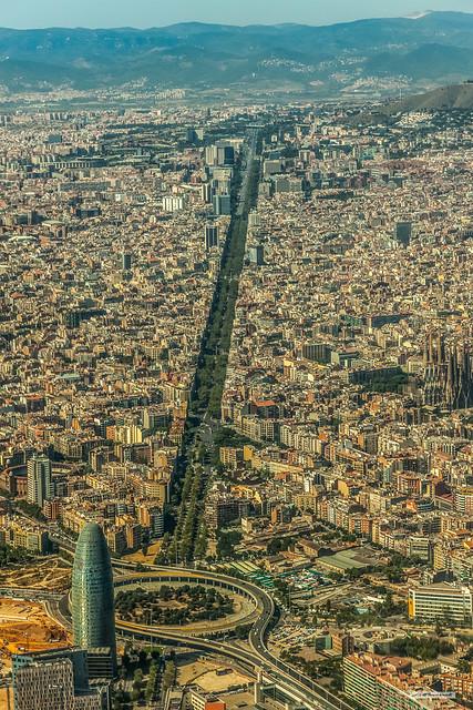 Avinguda Diagonal, Sagrada Familia Cathedral and Camp Nou, top left, in Barcelona, Catalonia, Spain.